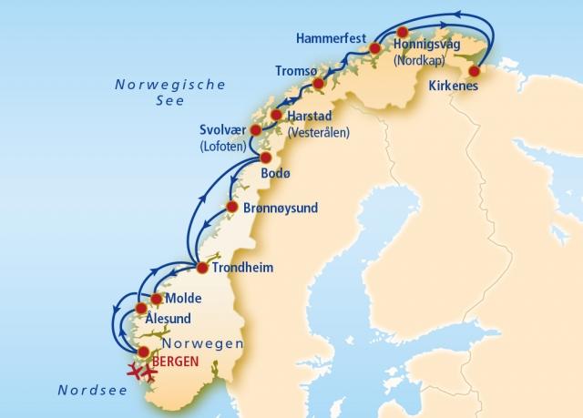 Karte Norwegen Hurtigruten.Hurtigruten Route Karte Karte